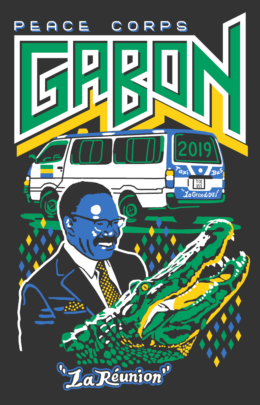 A t-shirt design image featuring the word Gabon in angular rock-n-roll letters, an African minivan taxi, the former president of Gabon Omar Bongo, and a large alligator.