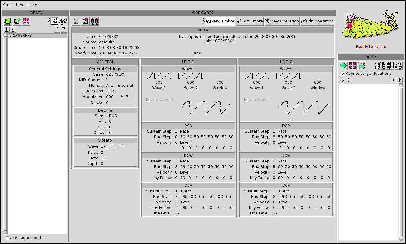 screenshot of CZSYSEXY running on Debian
