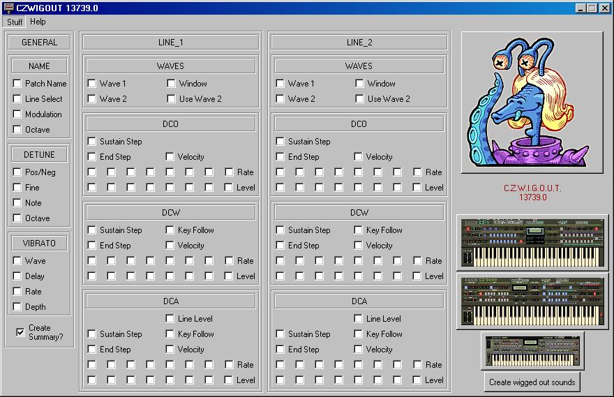 screenshot of CZWIGOUT running on Windows