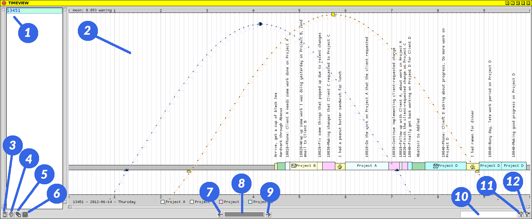 Screen capture of TIMEVIEW GUI application