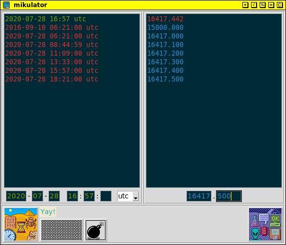 mikulator GUI showing stack of data