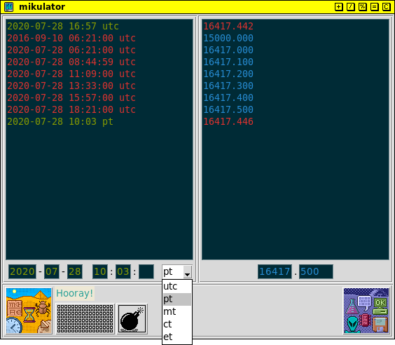 mikulator GUI showing timezone options
