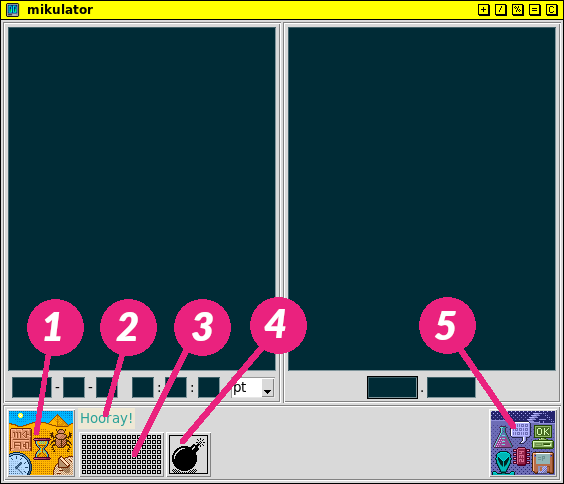mikulator GUI with labeled parts